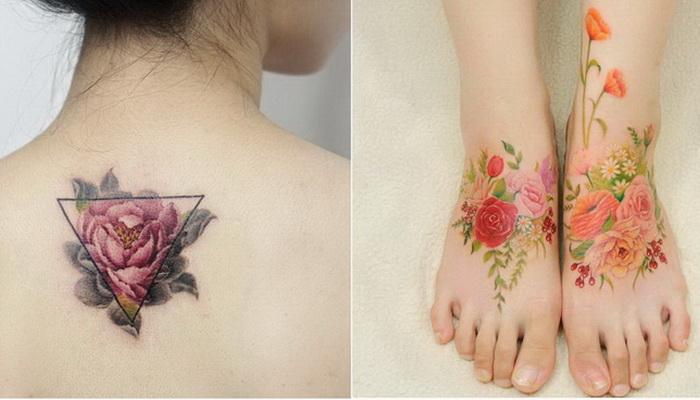 Цветочные татуировки, напоминающие акварели — 9 восхитительных идей