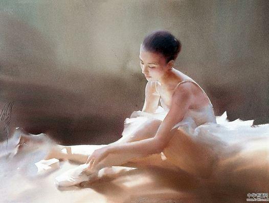 Китайский художник-акварелист Liu Yi. Балет и городской пейзаж
