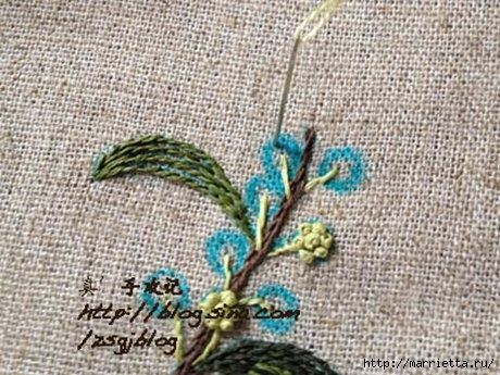 Объемная вышивка. Ромашки, одуванчики, хризантемы и мимоза (9) (460x345, 149Kb)
