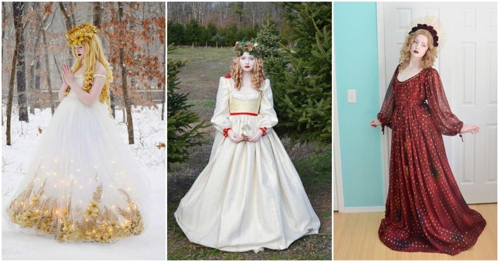 Роскошные платья родом из прошлого: эффектное совершенство, созданное юной мастерицей