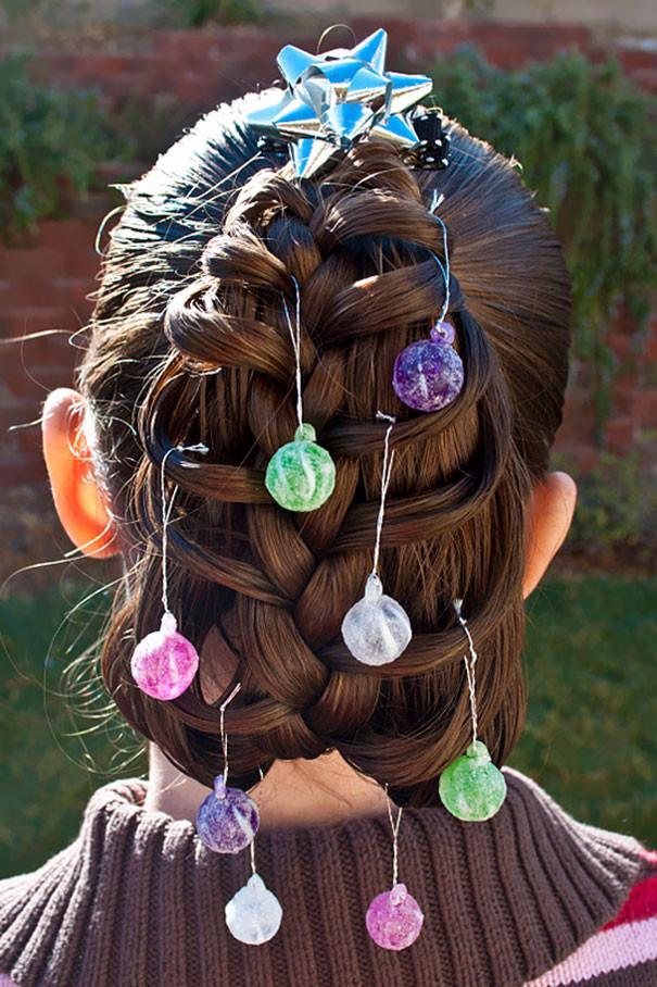 30. Елка с шариками волосы, праздник, прическа, рождество