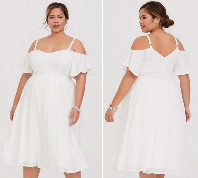кружевное белое летнее платье на полной модели