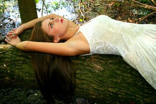 Девушка, Лес, Осень, Портрет, Платье