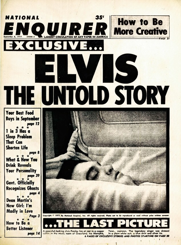 Последний снимок, опубликованный в газете National Enquirer 6 сентября 1977 года под сообщением о смерти Элвиса архив, знаменитости, интересно, история, редкие снимки, фото, фотоальбом, элвис пресли