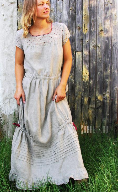 Льняное платье с гороховым рисунком