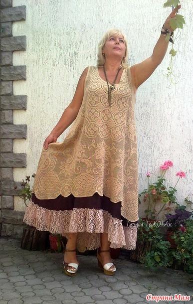 Я уже связала! Платье в стиле бохо в филейной технике