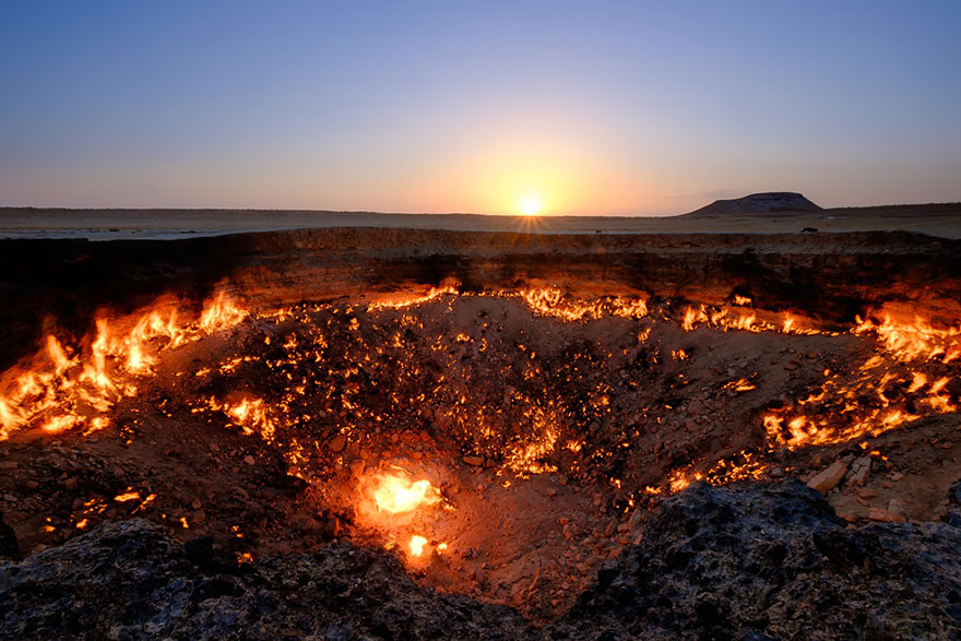 "26. Газовый кратер ""Врата ада"", Туркменистан земля, красота, планета, природа"
