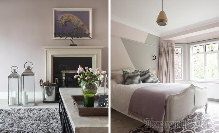 Нежно-лиловая квартира в Ирландии с витражными окнами