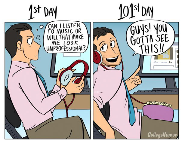 How Your Job Changes Over Time (1st Day Vs 101st Day)