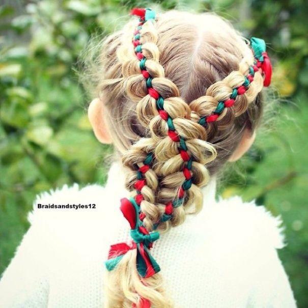 9. Праздничное плетение волосы, праздник, прическа, рождество