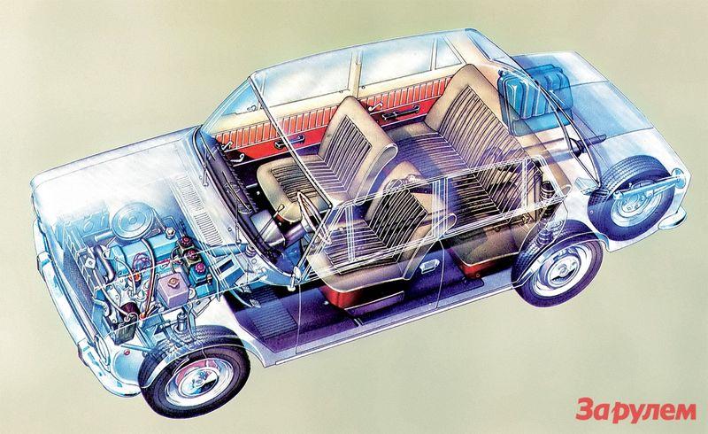 В начале 1970-х ВАЗ-2101 был вполне современным автомобилем: дисковые тормоза спереди, пружинная задняя подвеска, верхневальный двигатель.