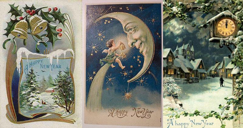 Подборка старинных зарубежных новогодних открыток. С Новым Годом!!!