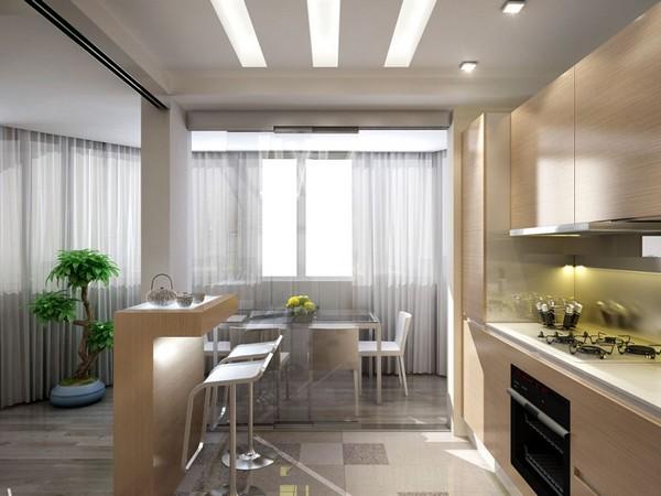 Кухня, обеденная зона и гостиная совмещенные