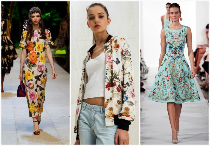 Одежда с цветочными узорами.
