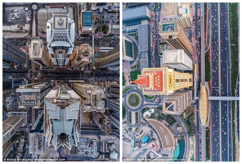 """Слева - вид на деловой центр, справа - Аль Якуб Тауэр, """"дубайский Биг-Бен"""" Дубай фото, аэросъемка, дрон, дубай, дубай достопримечательности, квадрокоптер, с высоты птичьего полета, снимки с дрона"""