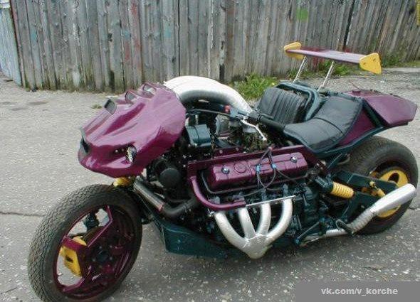 Мотоцикл с двигателем от грузовика, КАРЛ!