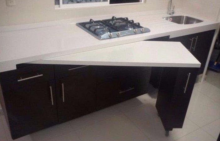Дополнительный стол для гостей) дизайн, дом, идеи, небольшая квартира, фото
