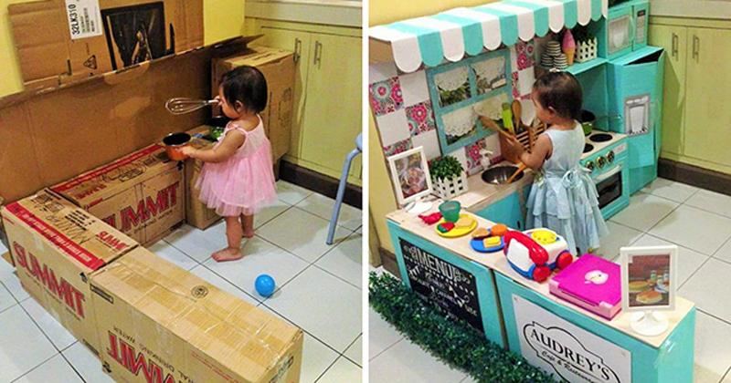 Как сделать детскую кухню из использованных картонных коробок