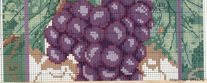 Виноградная лоза. Схемы вышивки крестом (8) (700x280, 236Kb)