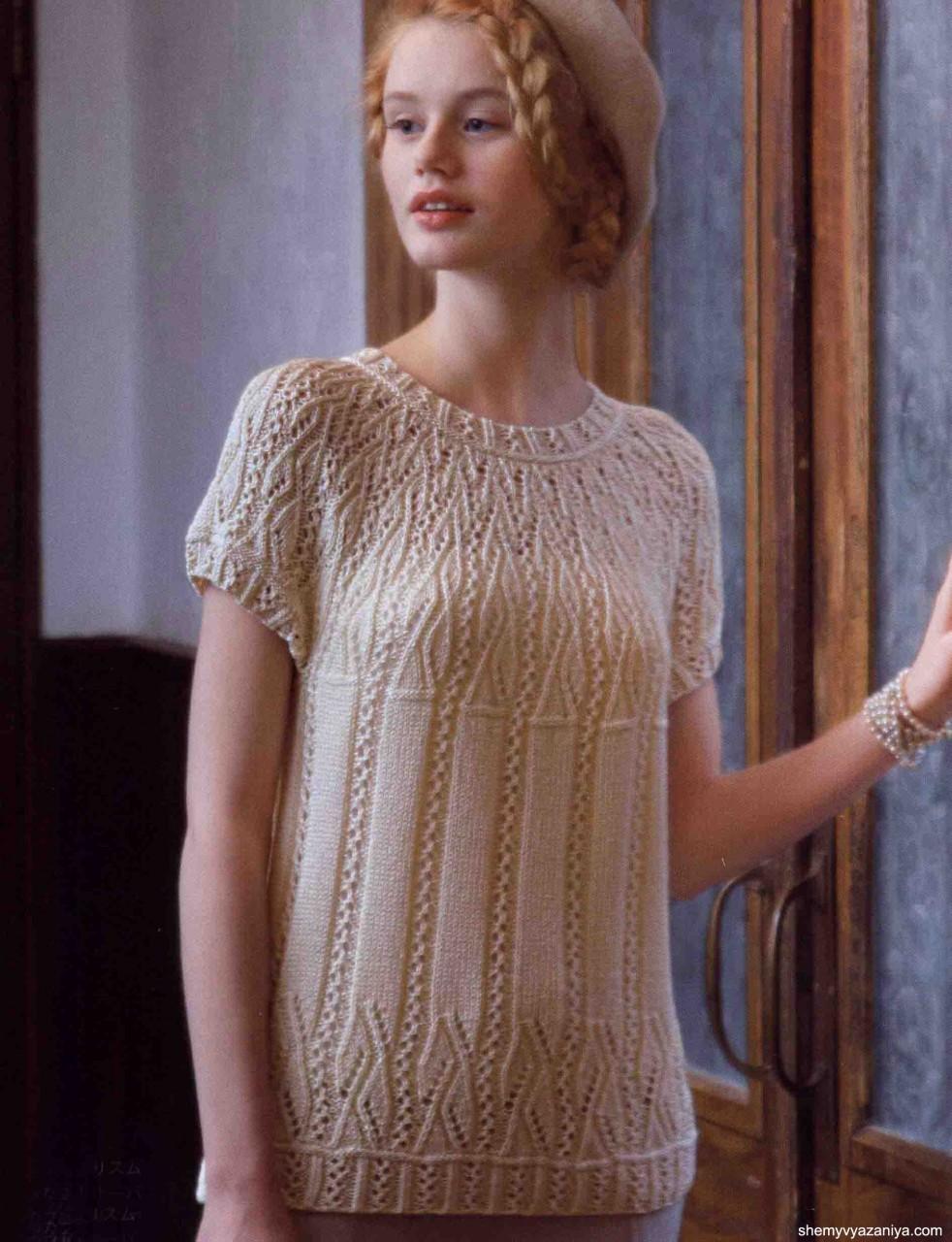 Женственный пуловер с ажурной кокеткой спицами