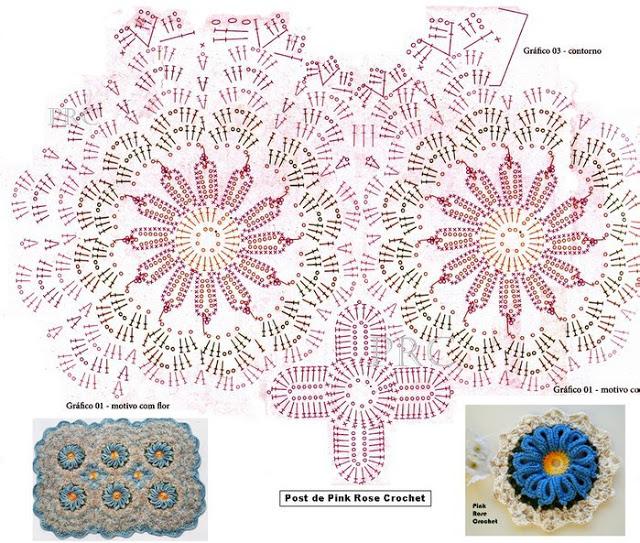 Вязание мотивами цветочки крючком