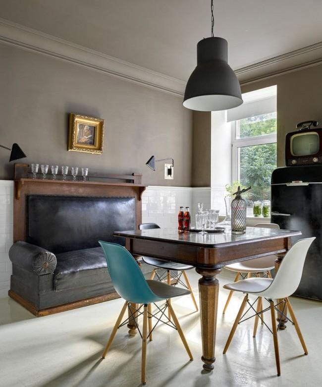 Серый цвет в интерьере стиля ретро