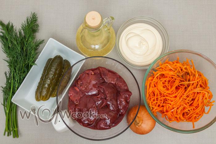 ингредиенты для салата с печенью и корейской морковью