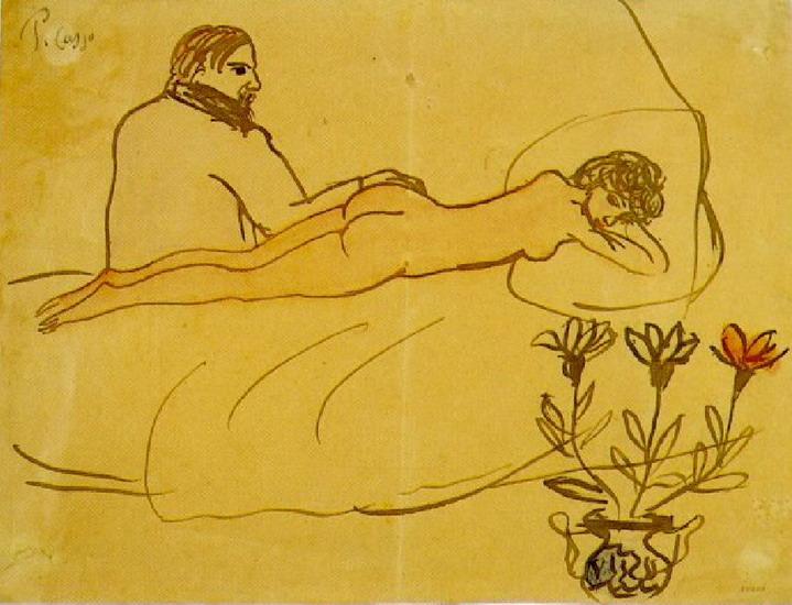 Пабло Пикассо. Лежащая обнаженная и сидящий Пикассо. 1902 год