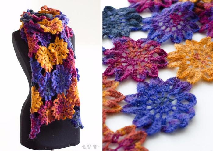Вяжем осенний шарф из ярких мотивов