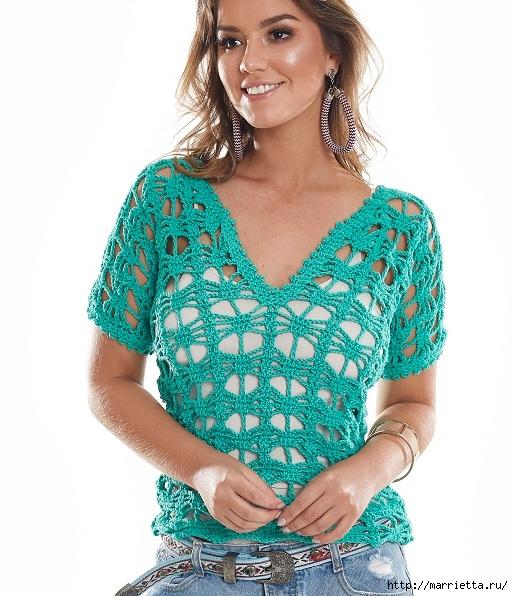 Летняя блуза крючком из голубой пряжи (3) (513x596, 222Kb)