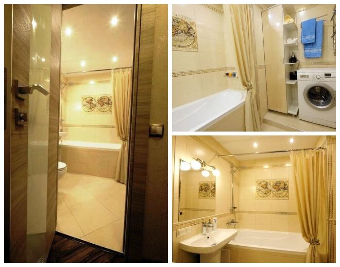 После перепланировки площадь ванной комнаты удалось увеличить.