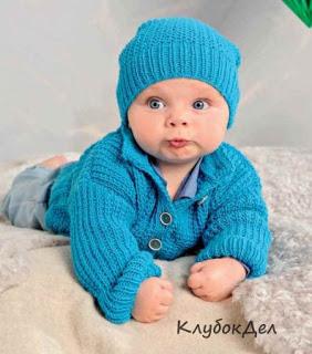 Пуловер, жакет и шапочка для…