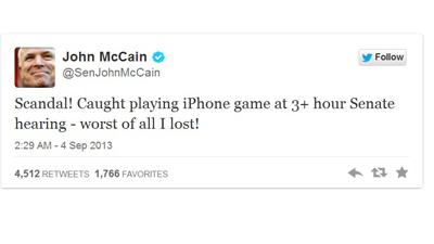 Американский сенатор  играл на iPhone во время рассмотрения вопроса удара по Сирии