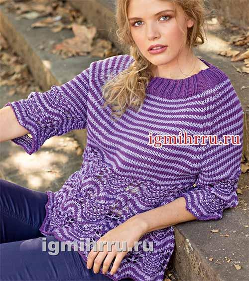 Пуловер реглан с полосками и ажурным узором