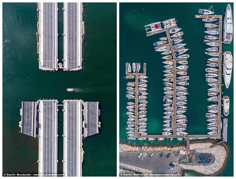 """Слева - понтонный мост Floating Bridge (""""Плавучий мост"""") через Дубайскую бухту. Справа - яхты на причале в заливе Дубай Марина Дубай фото, аэросъемка, дрон, дубай, дубай достопримечательности, квадрокоптер, с высоты птичьего полета, снимки с дрона"""