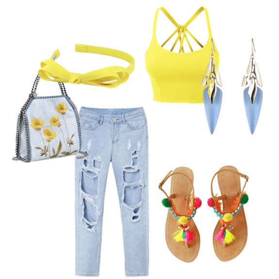 С чем носить и сочетать голубые джинсы: 15 модных образов
