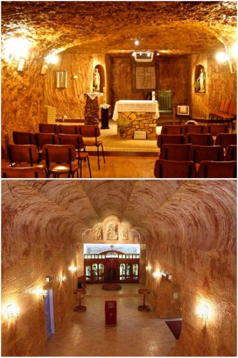 В подземном городе есть свои церкви (Кубер-Педи, Австралия). | Фото: proberry.ru.
