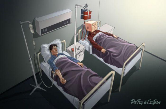 Сатирические иллюстрации, отражающие шокирующую реальность современности