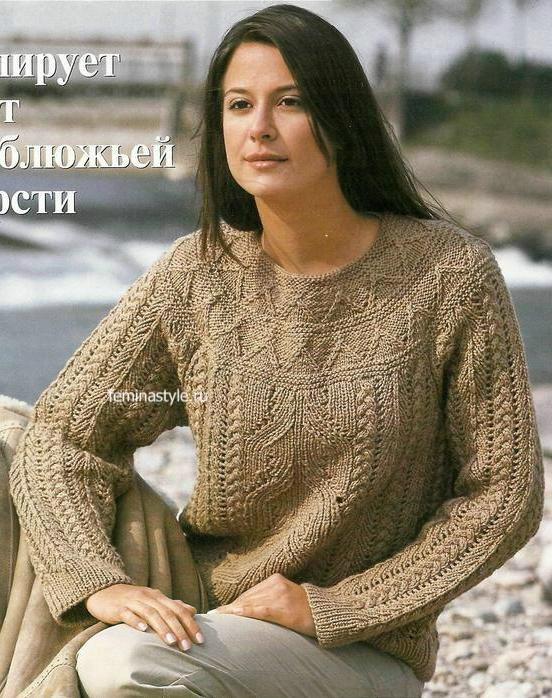 Пуловер цвета верблюжьей шерсти