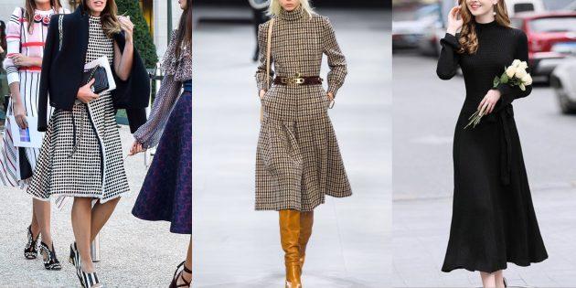 Модные осенью 2019 года строгие элегантные ретроплатья