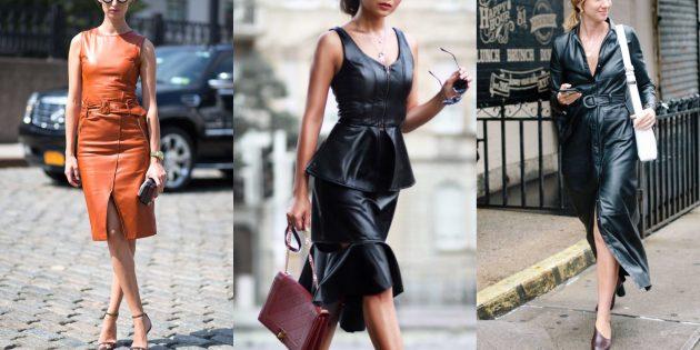 Модные платья из искусственной кожи