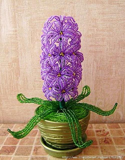 Плетем гиацинт из бисера Рубрика: Разное из бисера, Цветы из бисера Сегодня я расскажу вам, как плести гиацинт. .