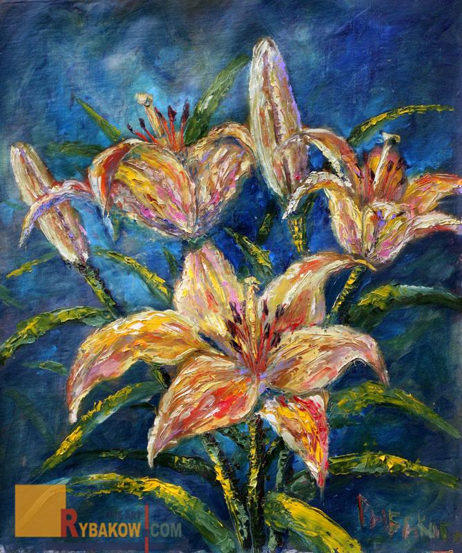 Цветочная картина маслом и мастихином: Букет ЦВЕТОВ возле студии. Художник Рыбаков.