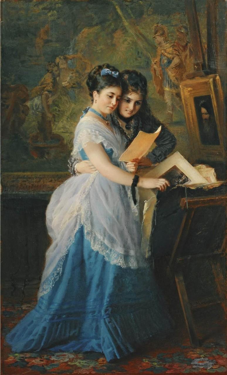 МаковÑкий К.. Две девушки раÑÑматривают иллюÑтрации. 1872