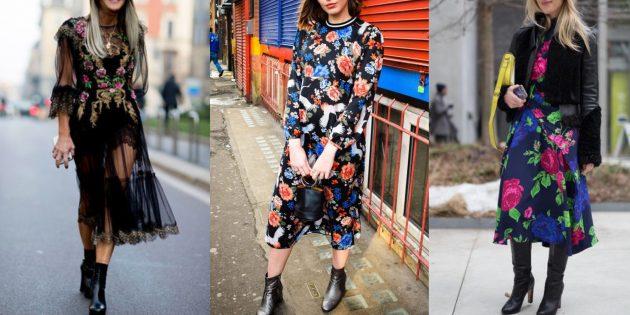 Платья с цветочными принтами на тёмном фоне
