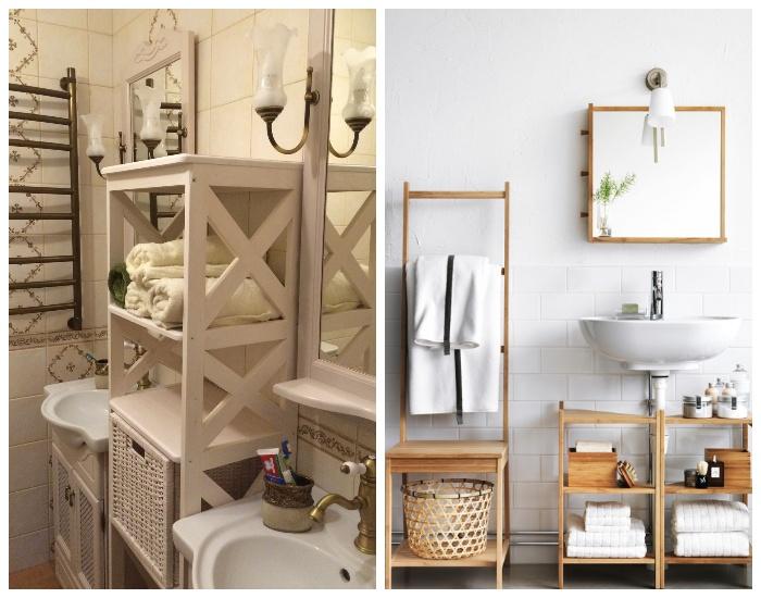 Деревянные этажерки стильно украсят интерьер ванной комнаты и обеспечат дополнительными системами хранения.
