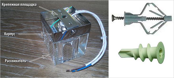 Устройство накладного светильника и способ монтажа