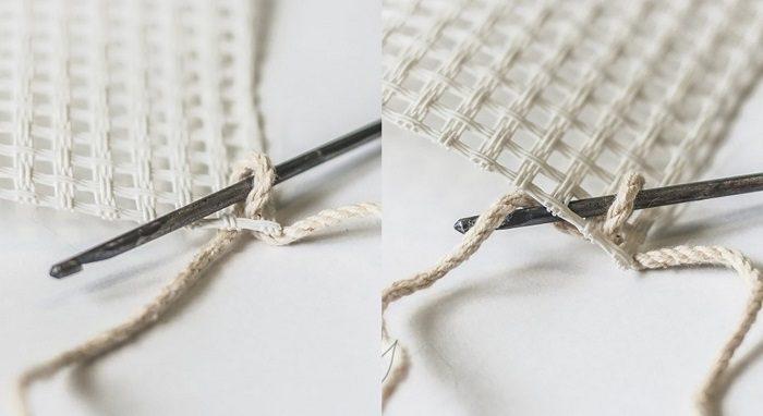 Вязание ковриков крючком по канве 5