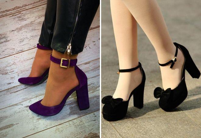 замшевые туфли на толстом каблуке
