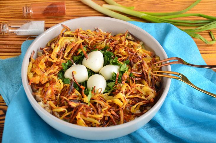 Салат «Гнездо глухаря» с курицей — оригинальный и очень вкусный рецепт